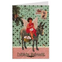 Angel with Burro Foil Stamped Christmas Card ~ Germany