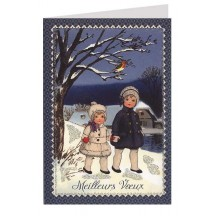 French Snow Children Glittered Christmas Card ~ Germany