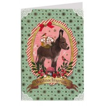 Christmas Burro Foil Stamped Christmas Card ~ Germany