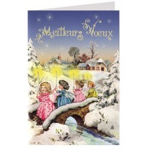 Christmas Angels with Candles Glittered Christmas Card ~ Germany