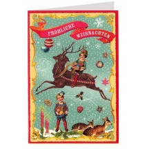 Children with Reindeer and Sweets Colorful Glittered Christmas Card ~ Germany