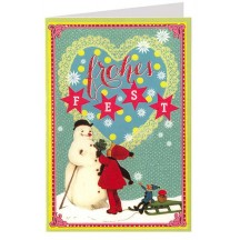 Christmas Snowman Colorful Glittered Christmas Card ~ Germany