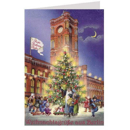 Rotes Rathaus Berlin Glittered Christmas Card