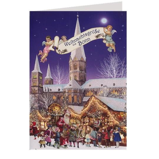 Merry Christmas from Bonn Glittered Christmas Card ~ Germany