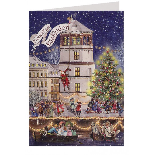 Merry Christmas from Dusseldorf Glittered Christmas Card ~ Germany