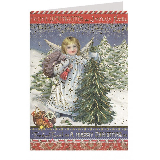 Snow Angel with Tree Embossed and Foiled Christmas Card ~ Germany