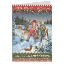 Forest Walk Embossed and Foiled Christmas Card ~ Germany