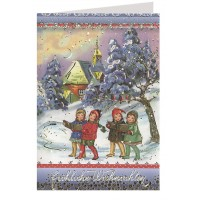 Children Caroling Embossed and Foiled Christmas Card ~ Germany