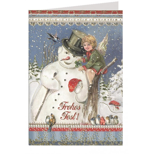 Snowman and Angel Embossed and Foiled Christmas Card ~ Germany