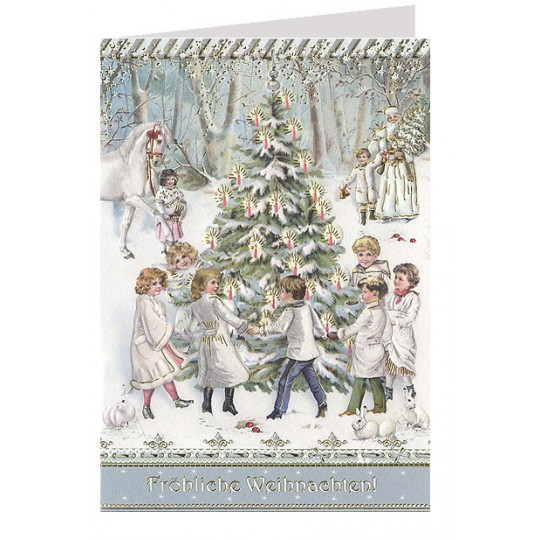 Christmas Celebrations Embossed and Foiled Christmas Card ~ Germany
