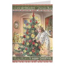 Angel Decorating Tree Embossed and Foiled Christmas Card ~ Germany