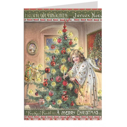 Christmas cards from germany angel decorating tree embossed and foiled christmas card germany m4hsunfo