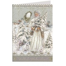 White Santa and Bunnies Embossed and Foiled Christmas Card ~ Germany