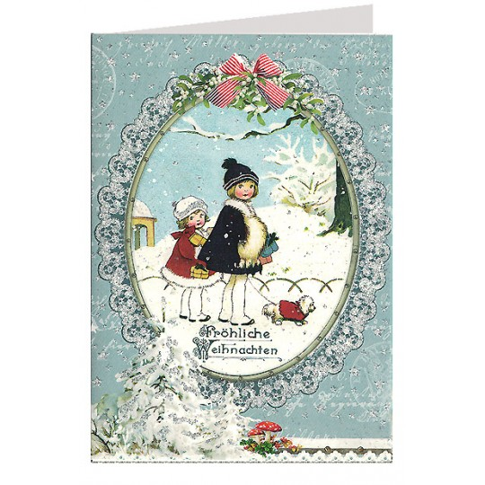 Snowy Christmas Girls Glittered Christmas Card ~ Germany