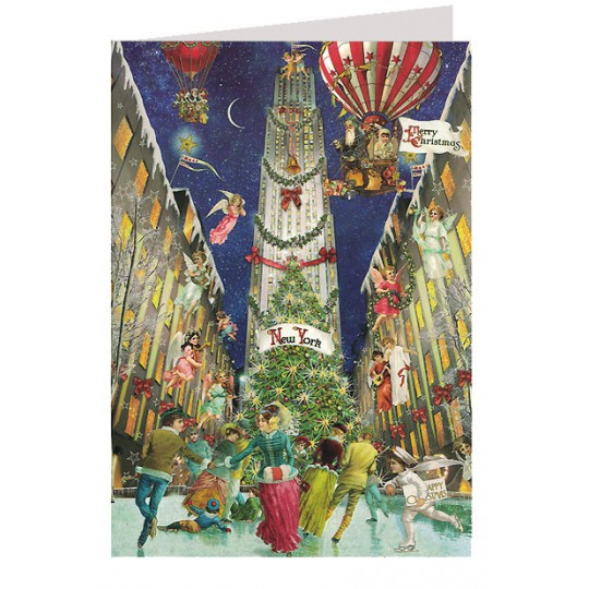 Merry Christmas from New York Rockefeller Center Skaters Glittered Christmas Card ~ Germany