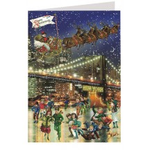 Merry Christmas from New York Brooklyn Bridge Skaters Glittered Christmas Card ~ Germany