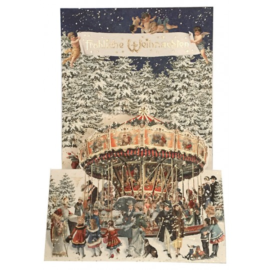 Christmas Carousel Pop Up Christmas Card ~ Germany