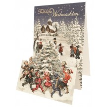 Children with Christmas Tree Pop Up Christmas Card ~ Germany