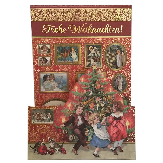 Children with Parlor Christmas Tree Pop Up Christmas Card ~ Germany