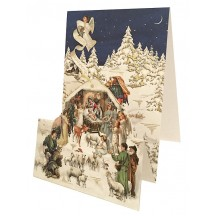 Snowy Nativity Scene Pop Up Christmas Card ~ Germany