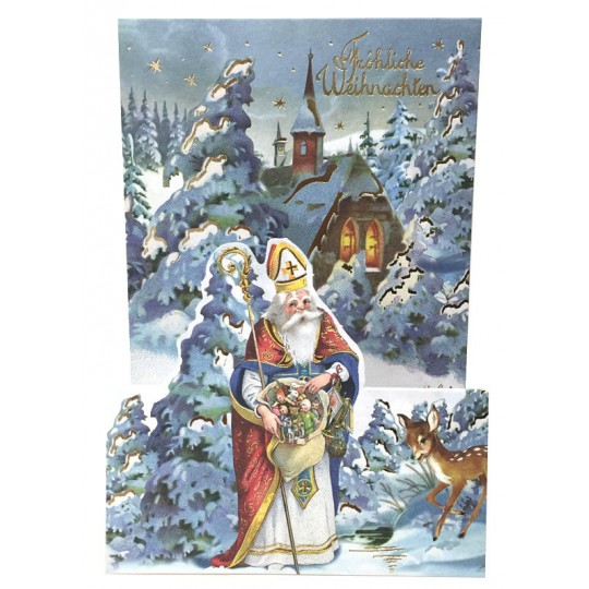 Snowy Father Christmas with Deer Pop Up Christmas Card ~ Germany