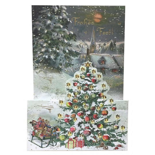 Snowy Christmas Tree Pop Up Christmas Card ~ Germany