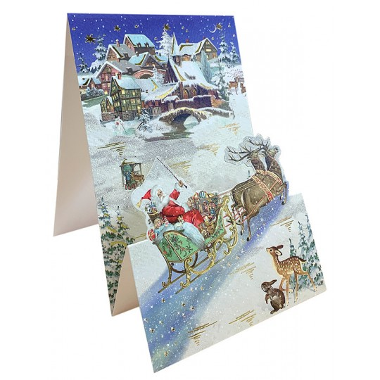 Santa with Sleigh Pop Up Christmas Card ~ Germany