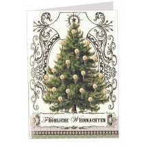 Classic Christmas Tree Embossed and Foiled Christmas Card ~ Germany