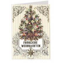 Old Fashioned Christmas Tree Embossed and Foiled Christmas Card ~ Germany