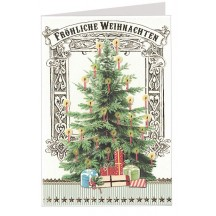 Christmas Tree with Gifts Embossed and Foiled Christmas Card ~ Germany
