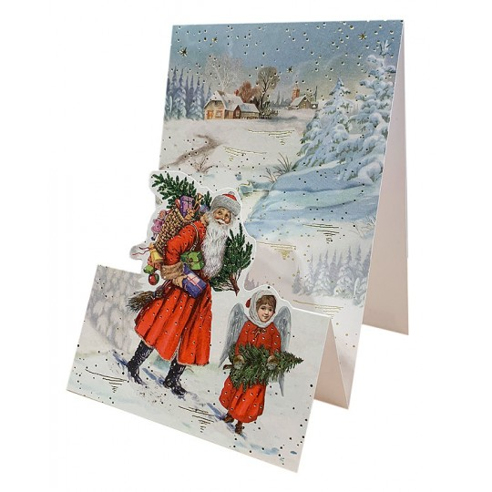 Santa with Angel and Tree Pop Up Christmas Card ~ Germany