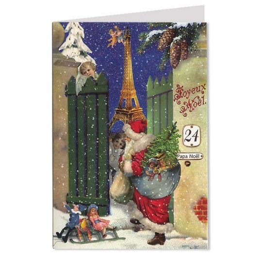 Joyeux Noel Santa and Eiffel Tower Christmas Card ~ Germany