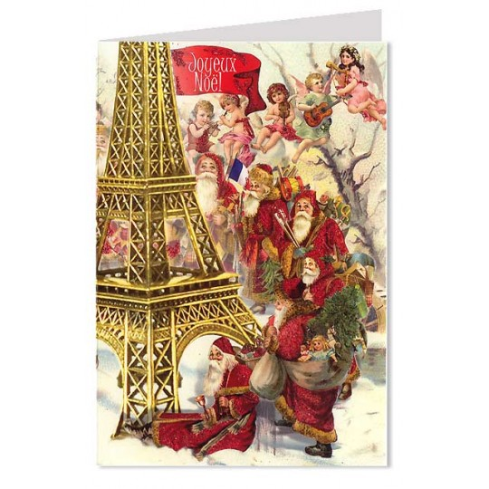 Red Coated Santas at the Eiffel Tower Christmas Card ~ Germany