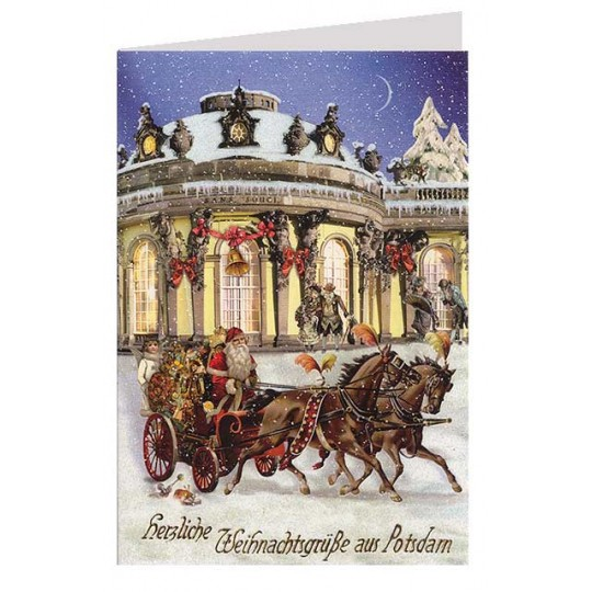 San Souci Christmas Sleigh Glittered Christmas Card ~ Germany
