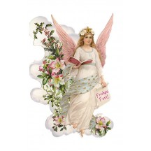 Angel with Holly and Flowers Die Cut Christmas Card ~ Germany