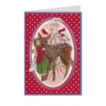 Red Polka Dot Fairy and Deer Christmas Card ~ Germany