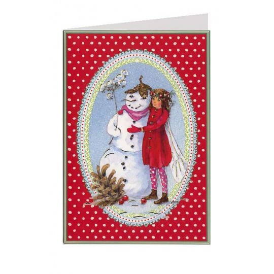 Red Polka Dot Fairy and Snowman Christmas Card ~ Germany