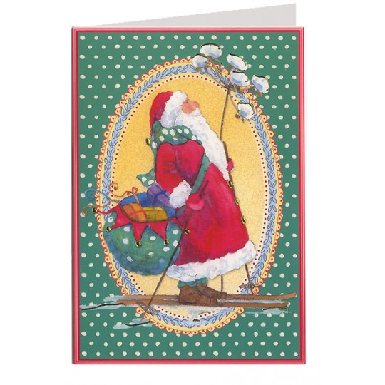 Skiing Santa Christmas Card ~ Germany