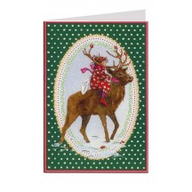 Green Polka Dot Fairy and Reindeer Christmas Card ~ Germany