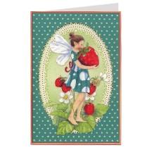 Green Polka Dot Fairy and Strawberry Card ~ Germany