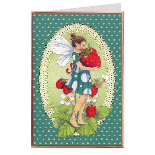 Green Polka Dot Fairy and Strawberry Card ~ Germany
