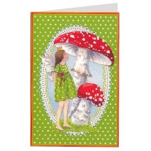 Green Fairy and Mushrooms Christmas Card ~ Germany