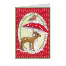 Red Deer and Mushroom Christmas Card ~ Germany