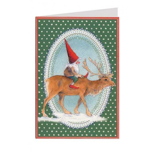 Green Polka Dot Gnome and Reindeer Christmas Card ~ Germany