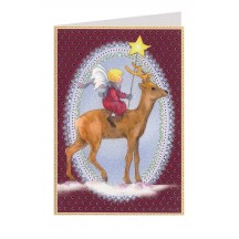 Burgundy Fairy and Reindeer Christmas Card ~ Germany