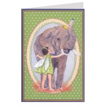 Green Polka Dot Fairy and Elephant Card ~ Germany