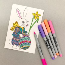 DIY Bunny with Egg Easter Card to Color or Paint