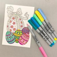 DIY Fancy Eggs Easter Card to Color or Paint