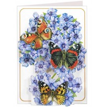 3-D Butterflies and Blue Flowers Card ~ England