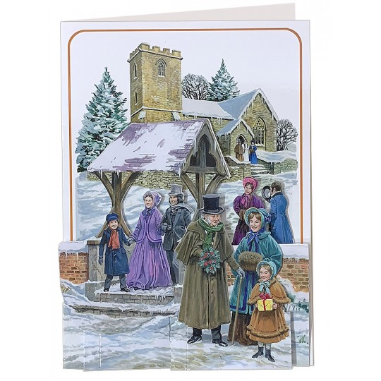 3-D Dickensian Christmas Church Card ~ England